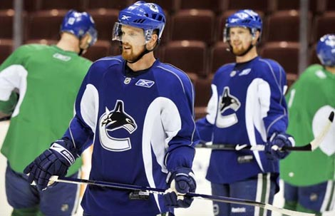 Henrik and Daniel Sedin at Canucks Open Practice