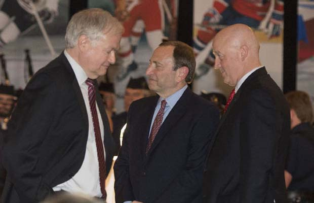 Donald Fehr, Gary Bettman and Bill Daly